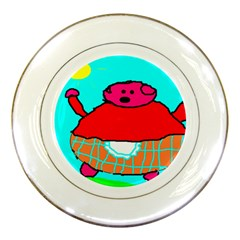 Sweet Pig Knoremans, Art By Kids Porcelain Display Plate by yoursparklingshop