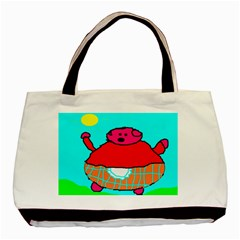 Sweet Pig Knoremans, Art by Kids Twin-sided Black Tote Bag by yoursparklingshop