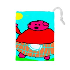 Sweet Pig Knoremans, Art By Kids Drawstring Pouch (large) by yoursparklingshop