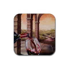 Wine In Tuscany Drink Coaster (square) by ArtByThree