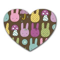 Bunny  Mouse Pad (heart) by Kathrinlegg