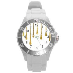 Gold Glitter Paint Plastic Sport Watch (large) by Kathrinlegg