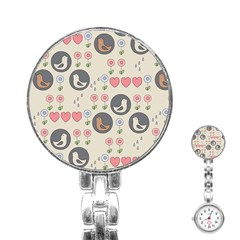 Love Birds Stainless Steel Nurses Watch by Kathrinlegg