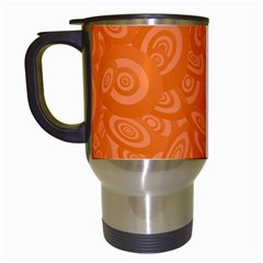 Orange Abstract 45s Travel Mug (white) by StuffOrSomething