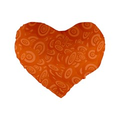 Orange Abstract 45s Standard 16  Premium Heart Shape Cushion  by StuffOrSomething