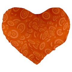 Orange Abstract 45s Large 19  Premium Flano Heart Shape Cushion by StuffOrSomething