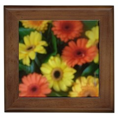 Orange Yellow Daisy Flowers Gerbera Framed Ceramic Tile by yoursparklingshop