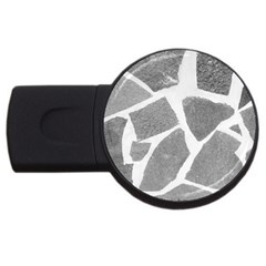 Grey White Tiles Pattern 2GB USB Flash Drive (Round) by yoursparklingshop