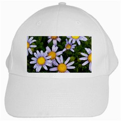 Yellow White Daisy Flowers White Baseball Cap by yoursparklingshop