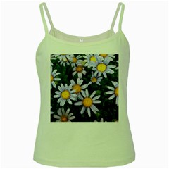 Yellow White Daisy Flowers Green Spaghetti Tank by yoursparklingshop