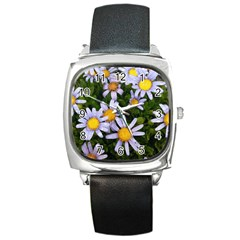 Yellow White Daisy Flowers Square Leather Watch by yoursparklingshop