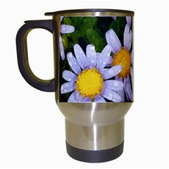 Yellow White Daisy Flowers Travel Mug (white) by yoursparklingshop