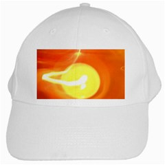 Orange Yellow Flame 5000 White Baseball Cap by yoursparklingshop