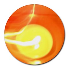 Orange Yellow Flame 5000 8  Mouse Pad (round) by yoursparklingshop