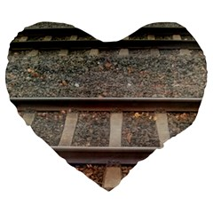 Railway Track Train Large 19  Premium Flano Heart Shape Cushion by yoursparklingshop