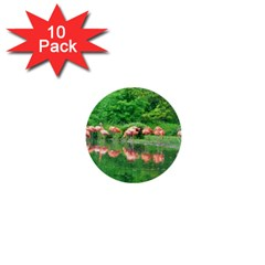 Flamingo Birds At Lake 1  Mini Button (10 Pack) by yoursparklingshop