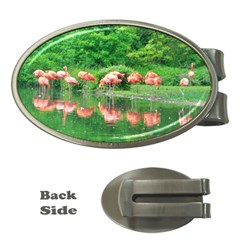 Flamingo Birds At Lake Money Clip (oval) by yoursparklingshop