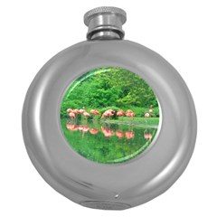 Flamingo Birds At Lake Hip Flask (round) by yoursparklingshop