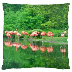 Flamingo Birds At Lake Large Cushion Case (two Sided)  by yoursparklingshop