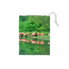 Flamingo Birds At Lake Drawstring Pouch (small) by yoursparklingshop
