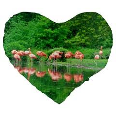 Flamingo Birds At Lake Large 19  Premium Flano Heart Shape Cushion by yoursparklingshop