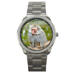 Grey Monkey Macaque Sport Metal Watch by yoursparklingshop