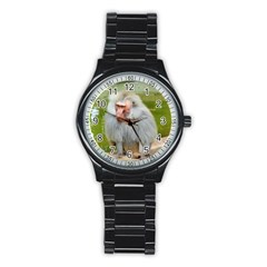 Grey Monkey Macaque Sport Metal Watch (black) by yoursparklingshop