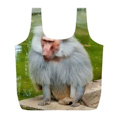 Grey Monkey Macaque Reusable Bag (l) by yoursparklingshop