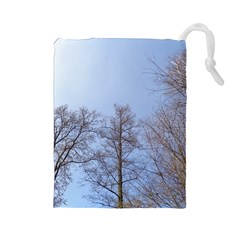 Large Trees In Sky Drawstring Pouch (large) by yoursparklingshop