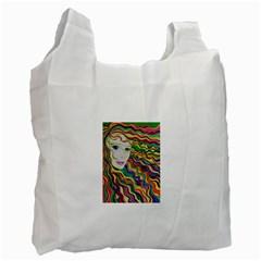 Inspirational Girl White Reusable Bag (one Side) by sjart