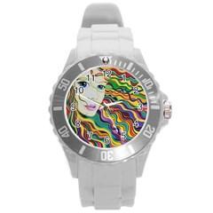 Inspirational Girl Plastic Sport Watch (large) by sjart
