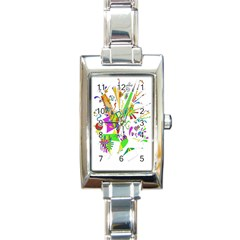 Splatter Life Rectangular Italian Charm Watch by sjart