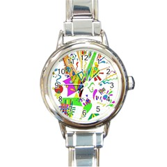 Splatter Life Round Italian Charm Watch by sjart