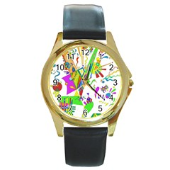 Splatter Life Round Leather Watch (gold Rim)  by sjart