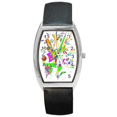 Splatter Life Tonneau Leather Watch by sjart