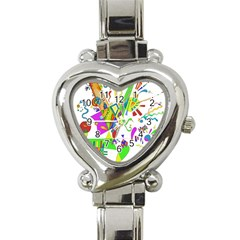 Splatter Life Heart Italian Charm Watch  by sjart