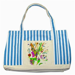 Splatter Life Blue Striped Tote Bag by sjart