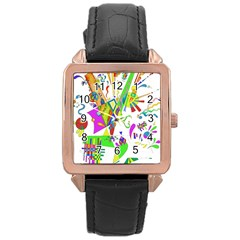 Splatter Life Rose Gold Leather Watch  by sjart