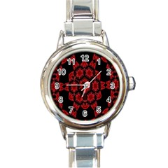 Red Alaun Crystal Mandala Round Italian Charm Watch by lucia