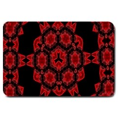 Red Alaun Crystal Mandala Large Door Mat by lucia