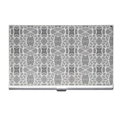 Grey White Tiles Geometry Stone Mosaic Pattern Business Card Holder by yoursparklingshop