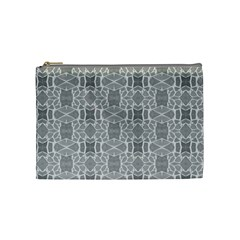 Grey White Tiles Geometry Stone Mosaic Pattern Cosmetic Bag (medium) by yoursparklingshop