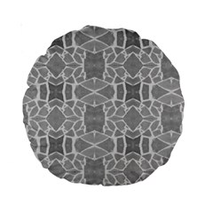Grey White Tiles Geometry Stone Mosaic Pattern Standard 15  Premium Round Cushion  by yoursparklingshop