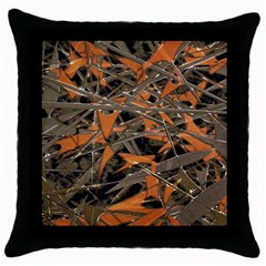 Intricate Abstract Print Black Throw Pillow Case by dflcprints