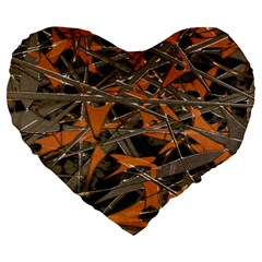 Intricate Abstract Print Large 19  Premium Heart Shape Cushion by dflcprints