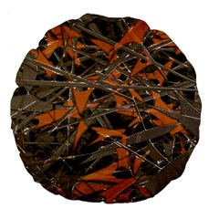 Intricate Abstract Print Large 18  Premium Flano Round Cushion  by dflcprints