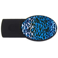 Florescent Blue Cheetah  1GB USB Flash Drive (Oval) by OCDesignss