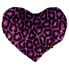 Cheetah Bling Abstract Pattern  Large 19  Premium Flano Heart Shape Cushion by OCDesignss