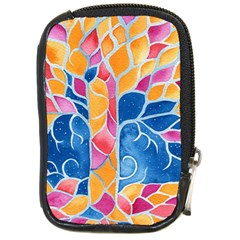 Yellow Blue Pink Abstract  Compact Camera Leather Case by OCDesignss