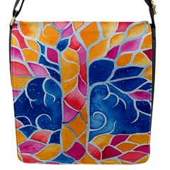 Yellow Blue Pink Abstract  Flap Closure Messenger Bag (Small) by OCDesignss